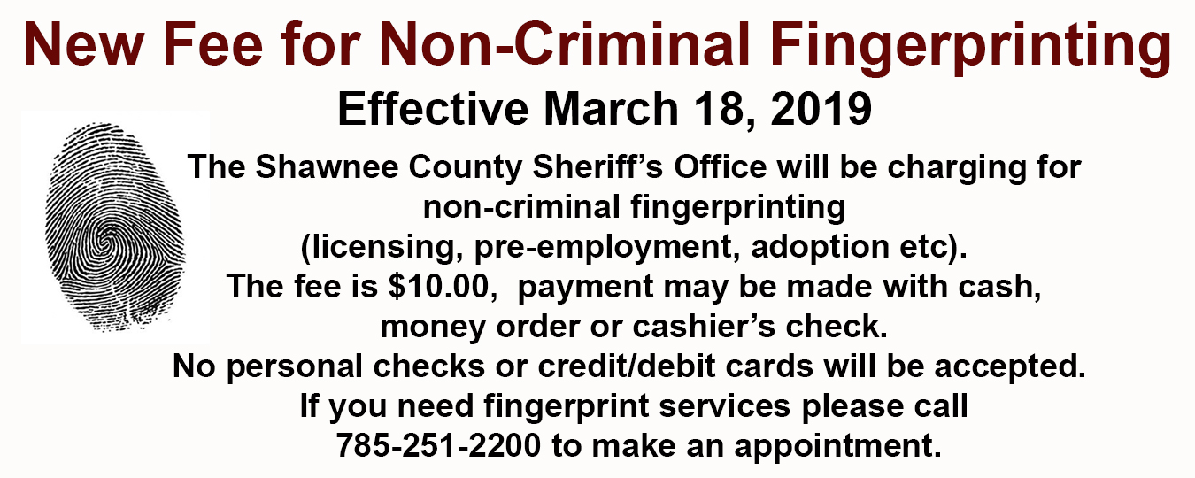 New Fee for Non Criminal Fingerprinting